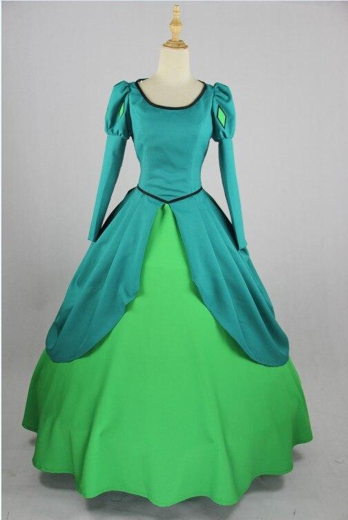 Faça O costume Fantasia Mulheres Adulto Azul Princesa Ariel A Pequena Sereia Vestido de Traje Cosplay