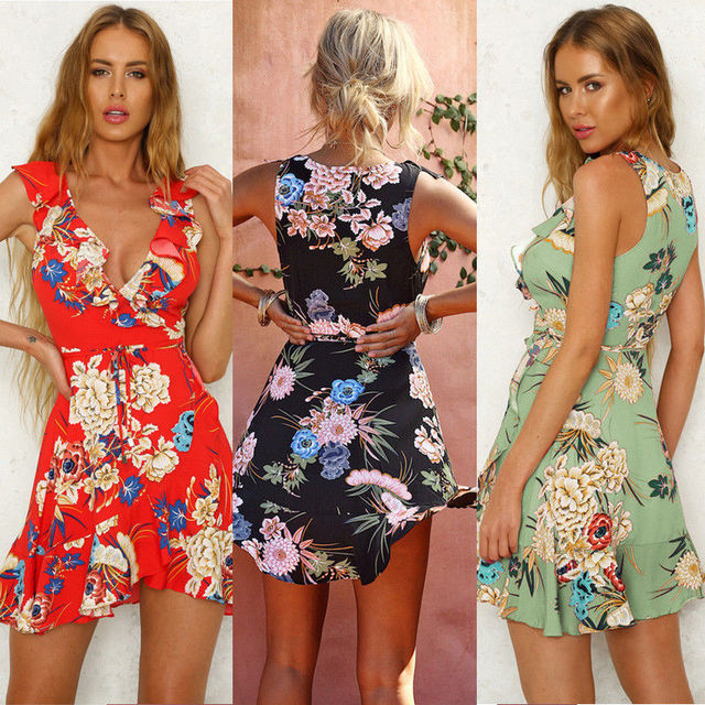 Boho Sweet Summer Women Ladies Dress Sundress 3 Style Ruffles Sleeveless Deep V-Neck Floral Print A-Line Mini Dress 2
