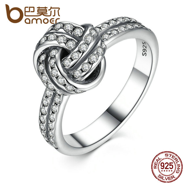 BAMOER Autumn Collection 925 Sterling Silver SPARKLING LOVE KNOT Weave Finger Ring For Women Engagement Fine Jewelry PA7190