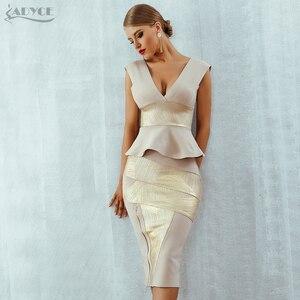 Image 2 - Adyce Ruffles Celebrity Party Dress 2020 New Summer Women Bodycon Set Sleeveless V Neck Front Zipper Bandage Dress Women Vestido