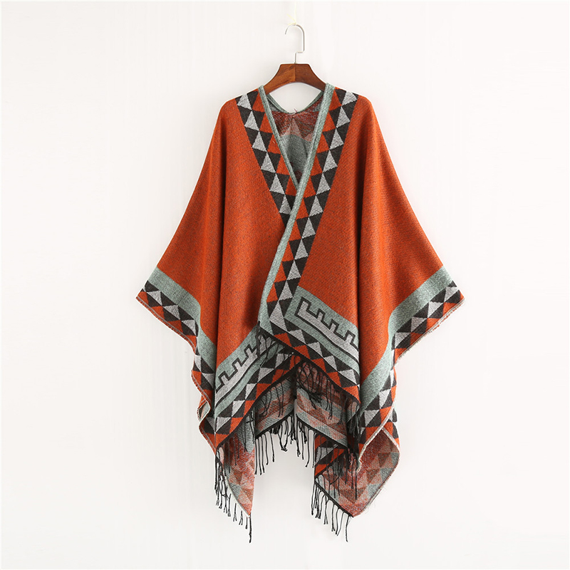 Mingjiebihuo New European And American Style Fashion Geometric Color Imitation Comfortable Temperament Warm Poncho Shawl Scarf
