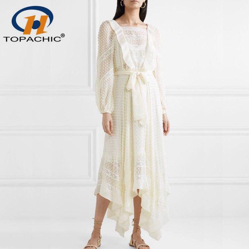 Women Floral Silk Georgette Ruffles Long Sleeves White Dress