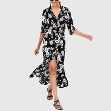 Sexy V Neck Party Dress Mid Calf Plus Size Vestidos De Fiesta Summer Chiffon Dress Women Boho Styles Floral Print Beach Dress retro style slimming floral print square neck mid calf dress for women