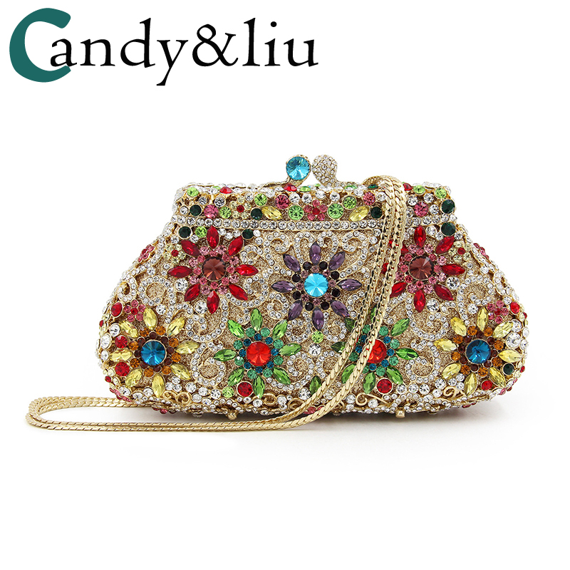 bags 2018 European and American flowers luxury hollowed-out dinner bag high-grade diamond set hand banqueting bag evening bag сумка красная keddo