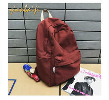 Leisure Lady's Shoulder Non-printed Pure-color Backpack Canvas Bag Simple College Wind Schoolbag mochila Girls Fashion Casual