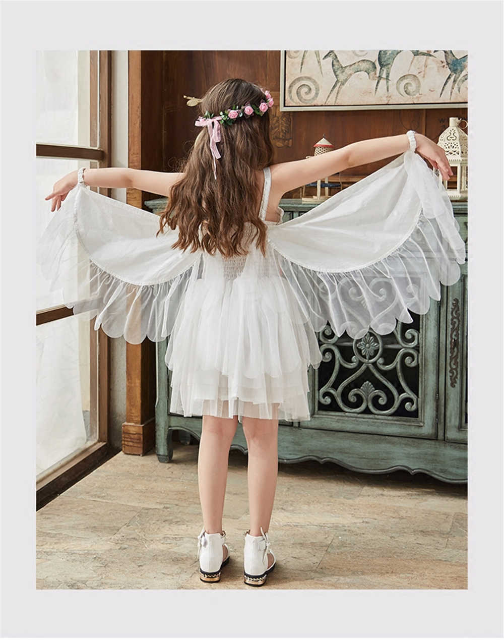 5321f32f4e ... Christmas Girls Swan Flamingo Wings Dress Children White Princess Dress  for Wedding Kids Embroidered Tulle Ballet ...