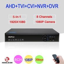 Blue-ray Xmeye Hi3521A 2MP CCTV Camera 1080P Full HD 8 Channel 8CH 5 in 1 Hybrid Coaxial TVI CVI IP NVR AHD DVR Free Shipping
