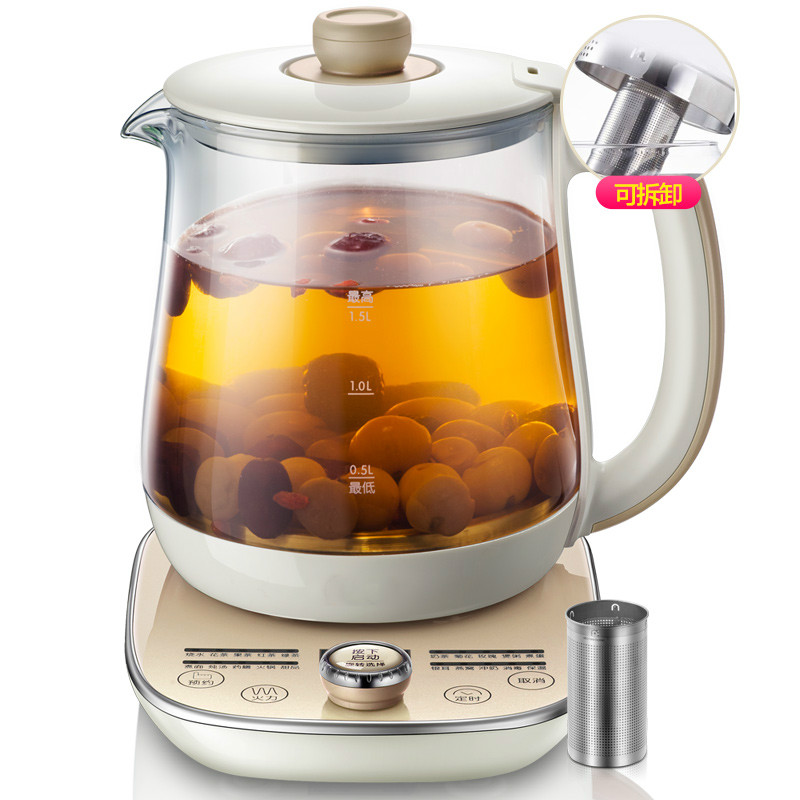 Raise  fresh pot with  thick glass multi-functional electric tea kettle full automatic black brew heater Anti-dry Protection electric kettle multi functional health care flower tea add thick glass pot