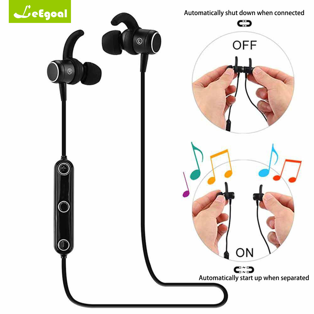 Leegoal M2 Earphones Magnet Wireless Bluetooth Sports Earphone Headset Stereo Music Headsfree Magnetic Switch With Microphone