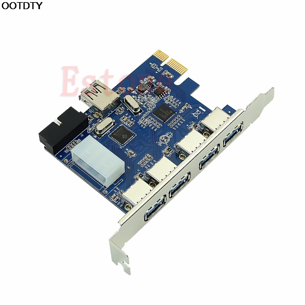 5 Ports PCI-E PCI Express Card to USB 3.0+19 Pin Connector 4 Pin Adapter For Win Pakistan