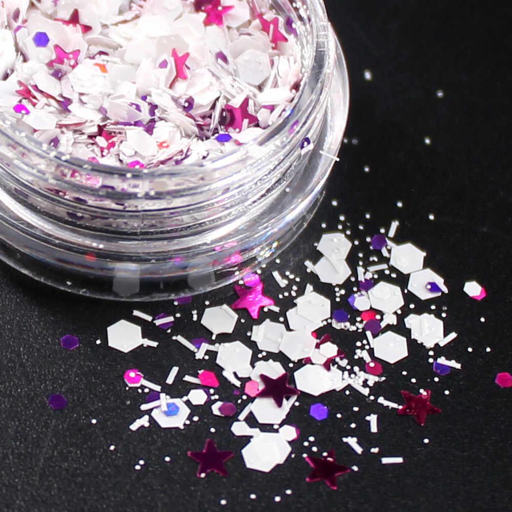 1 Uds. Copo de nieve brillo arte de uñas pintura de uñas de gel con brillos espejo manicura uñas herramientas decoración artística de uñas 3D brillo de uñas polvo rosa