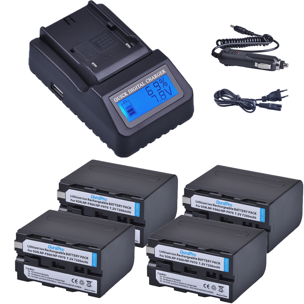 4pc 7200mAh NP-F960 NP-F970 NP F960 F970 Rechargeable Batteries + LCD Quick Charger for SONY HVR-HD1000 HVR-HD1000E HVR-V1J 2pcs np f960 np f970 np f960 f970 7 2v 7200mah replacement battery lcd quick charger for sony hvr hd1000 hvr hd1000e hvr v1j