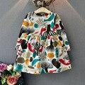 Invierno de la muchacha de flor vestido estampado animal de la historieta del conejito de La Princesa vestidos de fiesta Infantil ropa Niños trajes de Vestir para Niñas Otoño