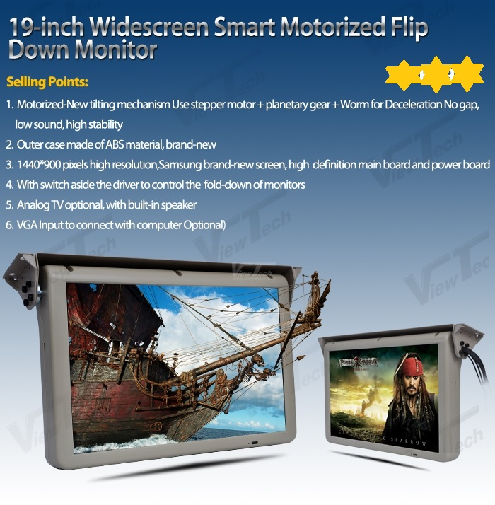 19inch antomatic Ceiling Flip Down Lcd display full Motorized roof mounted bus monitor with HDMI/VGA/USB slot/SD DC12 24V