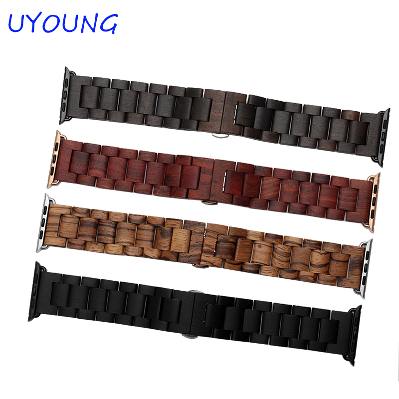 UYOUNG watch band quality wooden watchband 24mm black brown strap for iwatch Series 1 2 42mm new arrival for apple watch band high quality wooden watchband black brown strap for apple watch band series 3 2 1 42mm 38mm