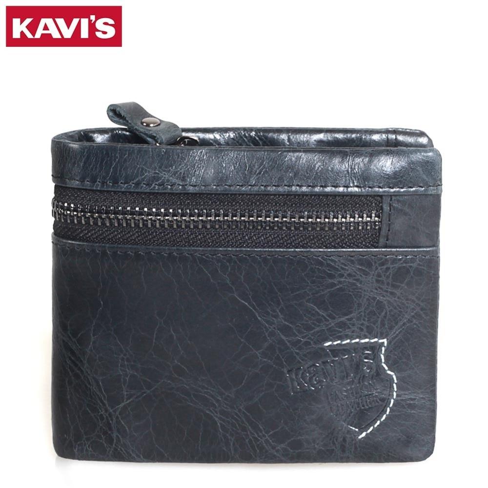 KAVIS 2017 New Mens Genuine Leather Wallet Fashion Small Money Bag Luxury Brand Walet Coin Purse Male Cuzdan Portomonee Pocket