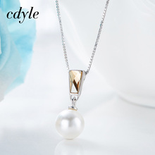 Cdyle Crystals From Swarovski Necklace Women Simple Pendants S925 Sterling Silver Fashion Vintage Simulated Pearl Jewelry(China)