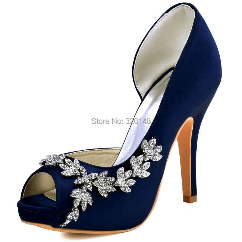 White Navy Blue Women High Heels Pumps