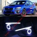 2x LED de Luzes Diurnas DRL luzes de Nevoeiro Lente Do Projetor + Angel Eyes Kits Para Subaru WRX 2015-2017
