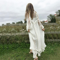 Whitewave Tie Up Long Veil Dress White Long Sleeve Irregular Summer Vintage Long Dresses For Women Holiday