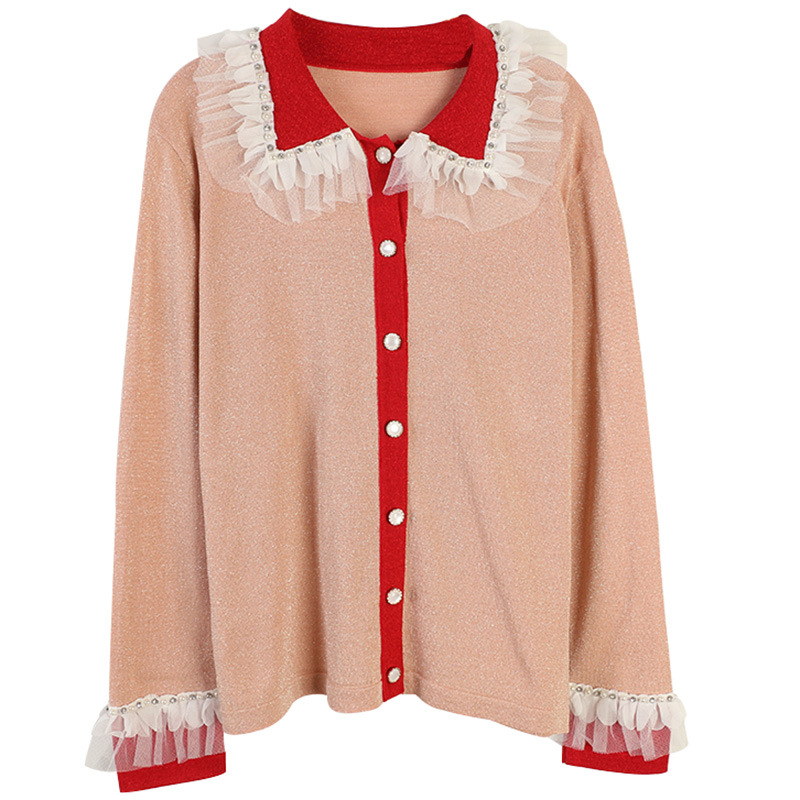 GRUIICEEN chandail tricoté dentelle maille à manches longues printemps cardigan manteau perles col rabattu cardigans manteau GY201934