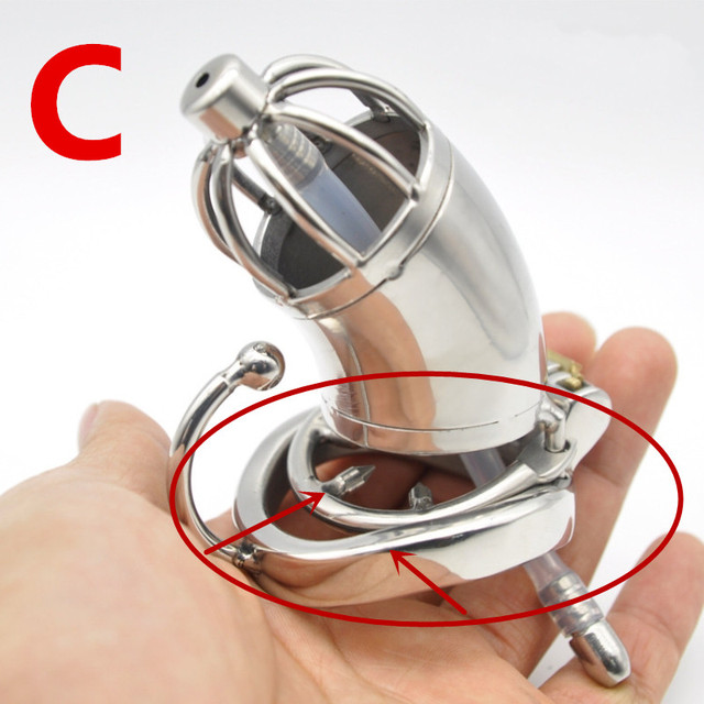Stainless Steel Chastity Cage with Urethral Sound Catheter Anti-off Spike Ring Male Chastity Devices Penis Lock for Men Sex Toy