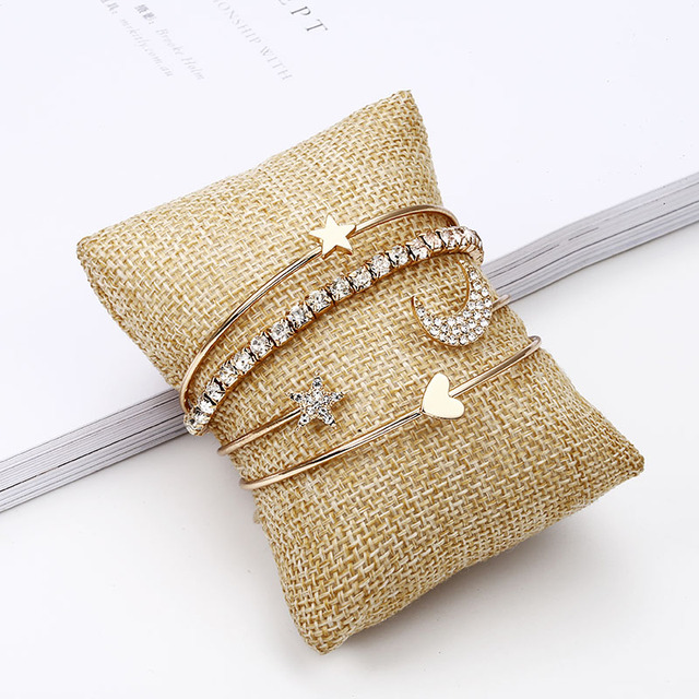 New fashion jewelry gold color Simple Moon Star Heart Crystal  Bracelet Party Jewelry  Bracelet  set best gifts