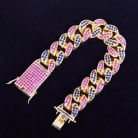 20mm wide Pink Blue CZ Stones Paved Hip Hop Bling Iced Out Gold Miami Curb Cuban Link Chain Bracelet for Men Rapper Jewelry