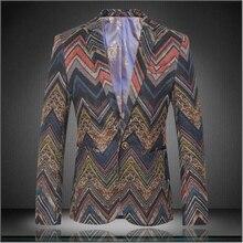 British style fashion city personality striped printing boutique men blazer 2016 Autumn and Winter New high-end blazer men M-4XL