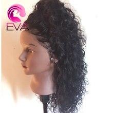 Krótki ludzki włos koronki przodu peruki Pre oskubane z dzieckiem włosy kręcone koronki przodu Bob peruki dla czarnych kobiet brazylijski włosy Remy Eva