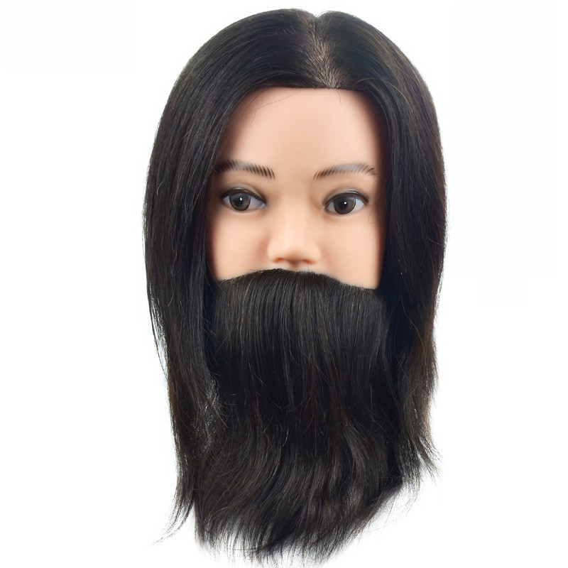 Free Shipping 100% Real Human Hair Men Hairdressing Training Head Cutting Practice Mannequin Head with Big Beard For SalonFree Shipping 100% Real Human Hair Men Hairdressing Training Head Cutting Practice Mannequin Head with Big Beard For Salon