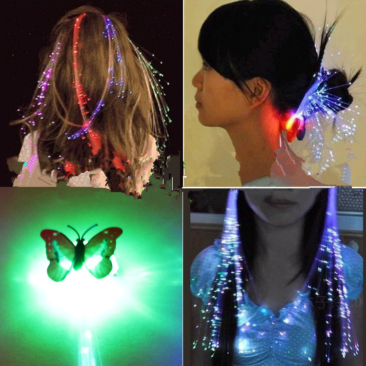10pcs/set LED Novelty Butterfly Hairpin Colorful Shiny Light Braids For Woman Girl Kind Hair Claw Clip Party Wedding Accessories
