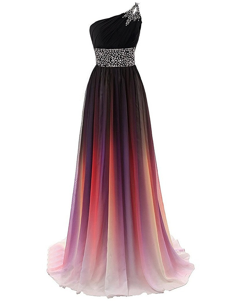 robe de soiree Beaded Chiffon One-Shoulder Plus Size Gradient   Evening     Dresses   Long Prom Gowns