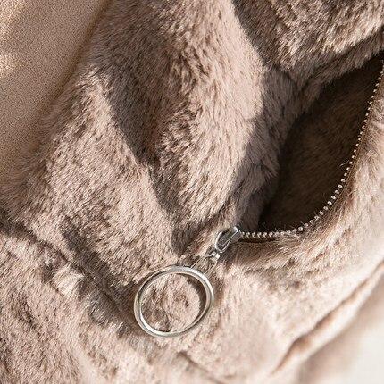 Femelle Vêtements Daim Automne Veste Plume 2 1 Et En Agneau Moto D'hiver Court wvqRaIUnW