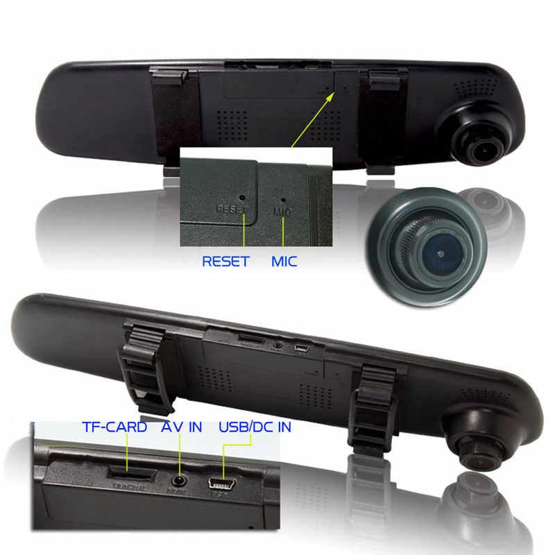 4.3 אינץ רכב מראה וידאו דאש מצלמה רכב Dvr מראה FHD 1080P הכפול עדשה עם מצלמה אחורית אוטומטי וידאו מקליט Registratory