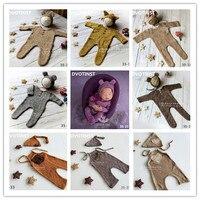 DVOTINST Newborn Baby Photography Props Knit Crochet Romper Hat 2pcs Set Fotografia Accessory Infant Toddler Studio