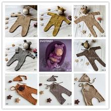 DVOTINST नवजात शिशु फोटोग्राफी प्रोप बुनाई Crochet Romper + Hat 2pcs सेट Fotografia सहायक उपकरण शिशु Toddler स्टूडियो शूट फोटो