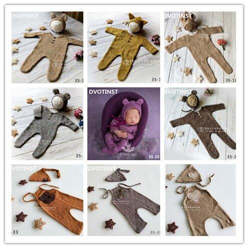 DVOTINST Newborn Baby Photography Props Knit Crochet Romper+Hat 2pcs Set Fotografia Accessory Infant Toddler Studio Shoot Photo