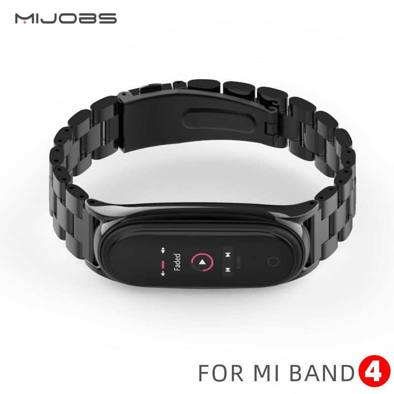 Mi banda 4 alça de metal de Aço Inoxidável Para Xiao Mi banda I 3 cinta pulseira Compatível Mi Band 3 pulseiras pulseira mi band3