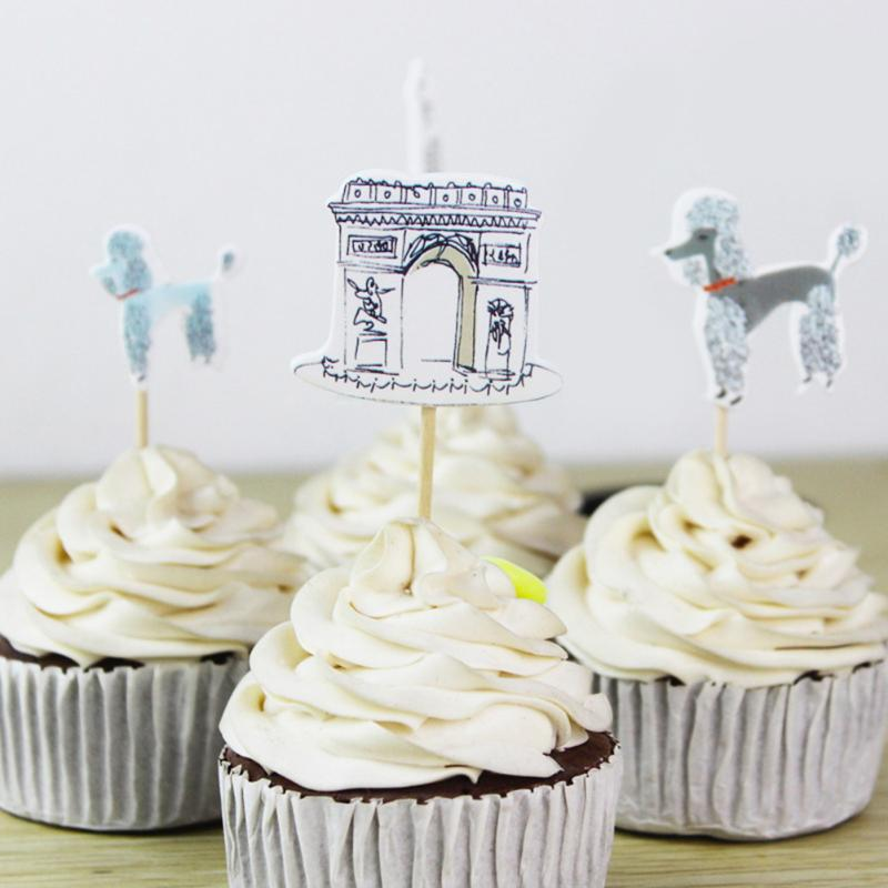 24pcs Paris Eiffel Tower Cupcake Topper Pick Wedding Birthday Cupcake Topper Decorations Baby Shower Kids Birthday Party Favors