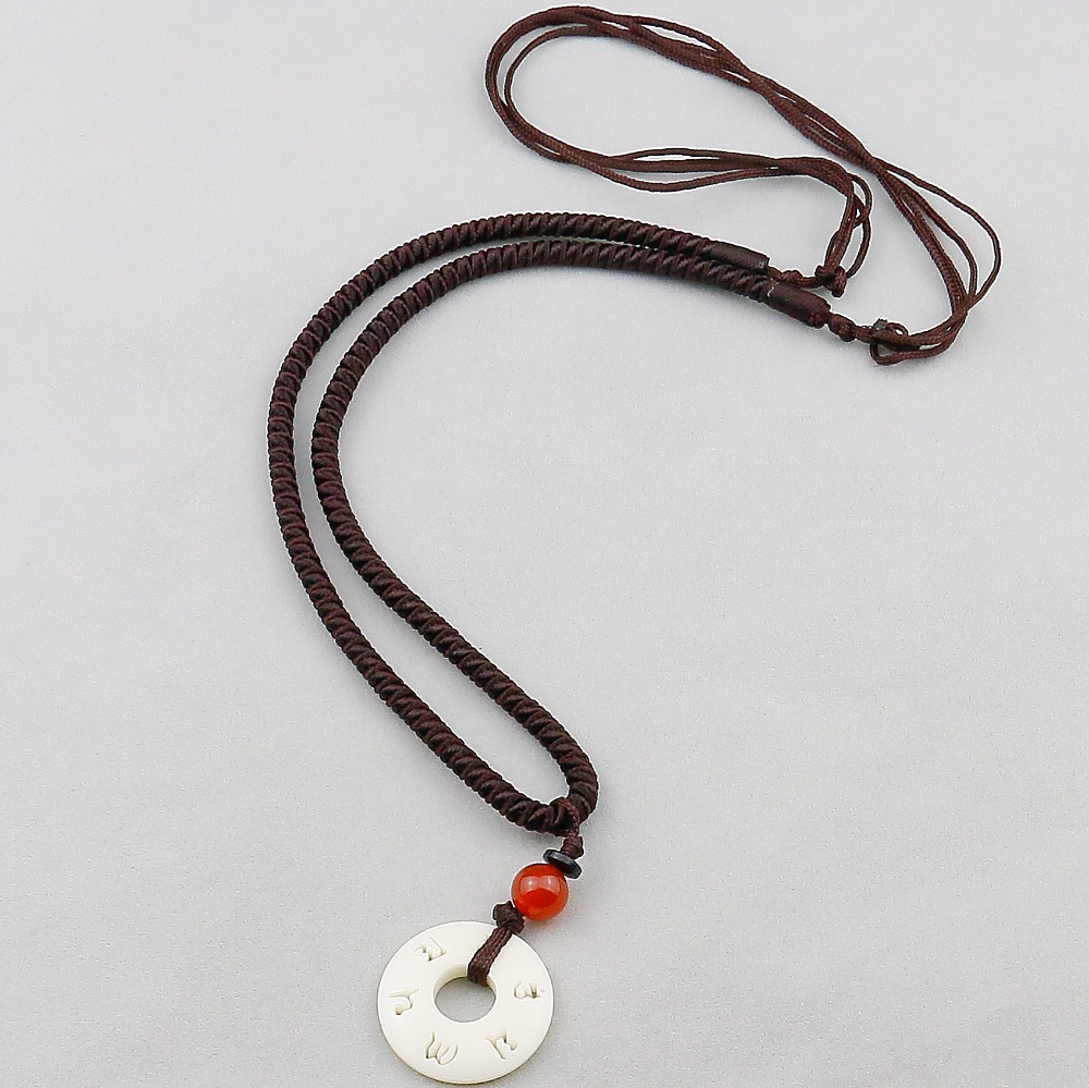 Tibetan Buddhist Handmade Simple Rope Chain With OM Nut Pendant Necklace For Women Men Yoga Amulet Jewelry,Adjustable Size