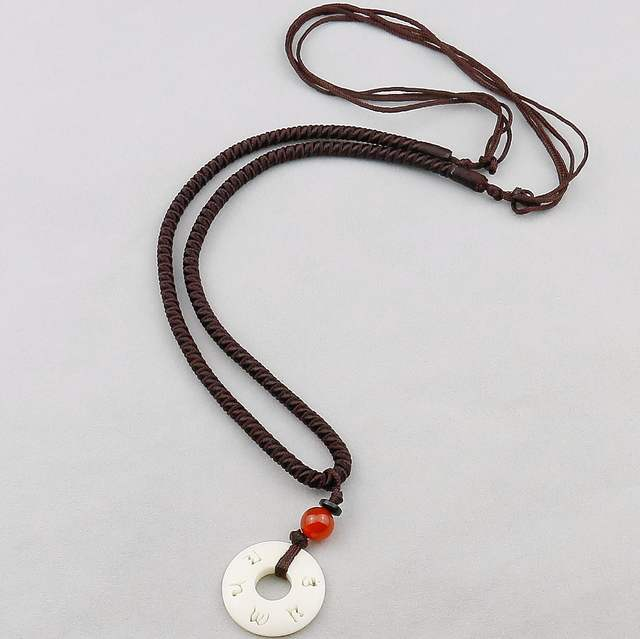 9161f79e4ea Tibetan Buddhist Handmade Simple Rope Chain With OM Nut Pendant Necklace  For Women Men Yoga Amulet Jewelry,Adjustable Size