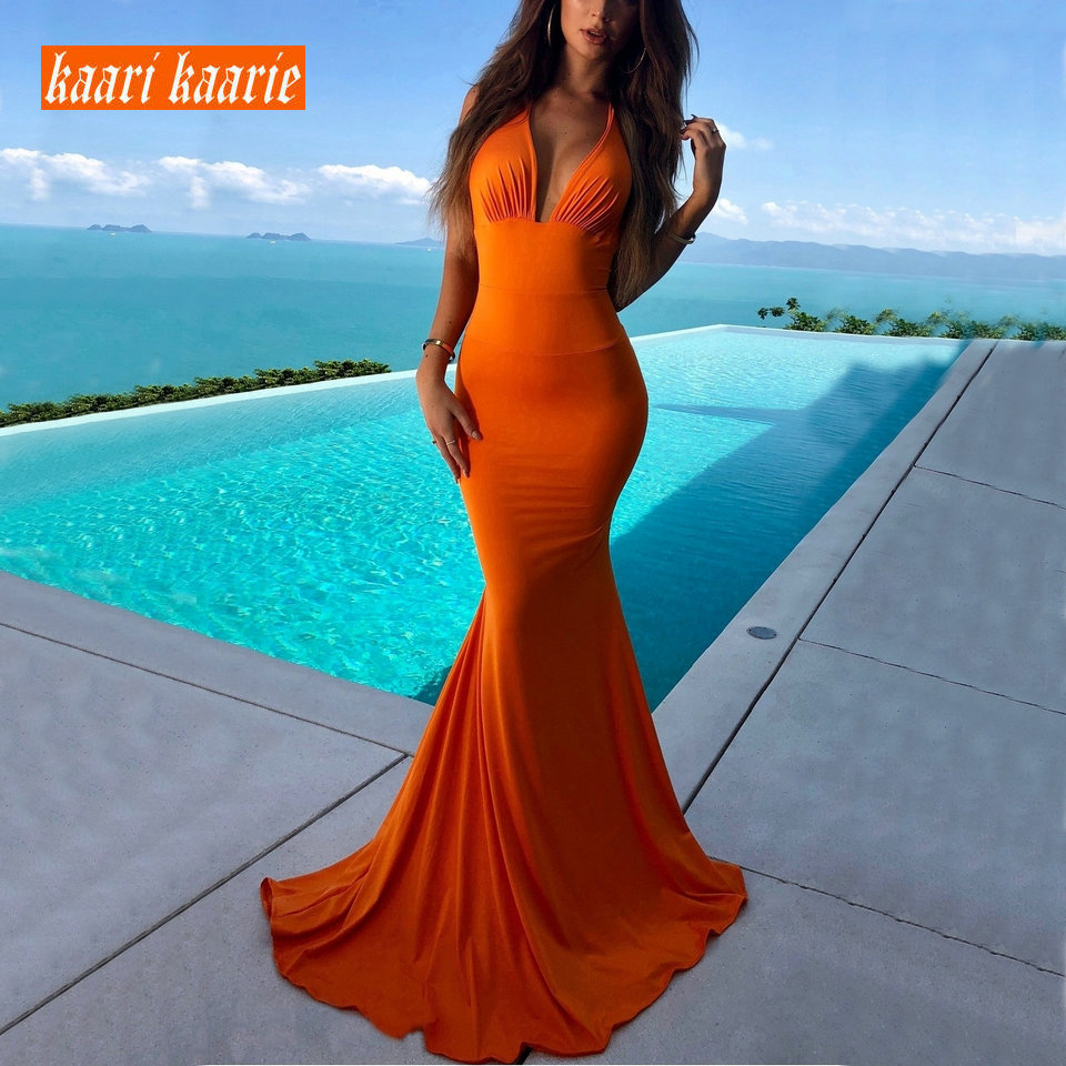 Fashion Orange Mermaid Long   Evening     Dress   2019 Women Party   Evening   Gowns V-Neck Sleeveless Banquet Slim Fit Banquet Prom   Dresses