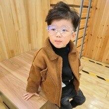 Куртка для мальчиков детская одежда в Корейском стиле новинка года; сезон весна-осень; Детская куртка из оленьей кожи пальто из овечьей шерсти для малышей Верхняя одежда на молнии для мальчиков