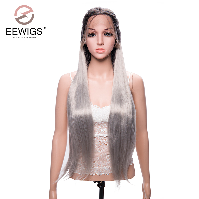 EEWIGS Synthetic Lace Front Wig Long Ombre Silky Straight Black Root to Grey Ombre Wig Heat Resistant Fiber Hair Wig For Women