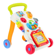 Высокое качество, детские ходунки, игрушки, многофункциональные, для малышей, на колесиках, сидя на стойке, ABS, музыкальные ходунки с регулируемым винтом для малышей