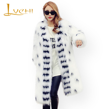 LVCHI 2017 fashion winter Knitted Fox coat real natural furs coat Medium Slim V-Neck striped women Warm new style Outerwear