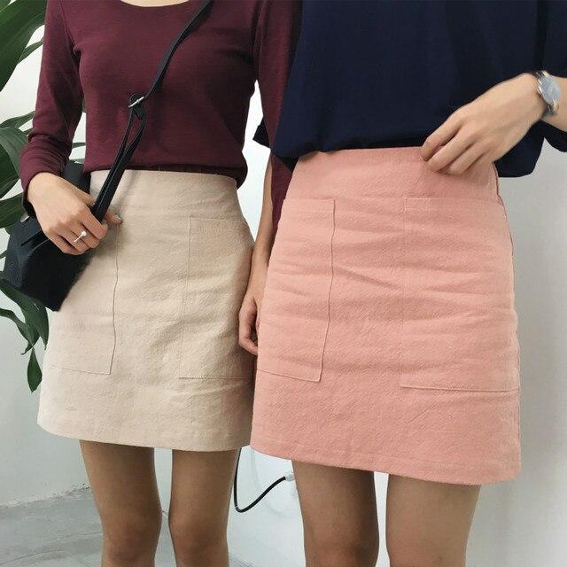 Falda de moda de Verano de Las Mujeres 2017 de Corea Cintura Alta Mini Falda Femenina Falda de Lino de Algodón Bolsillo Externo Preppy Sólidos Jupe Femme