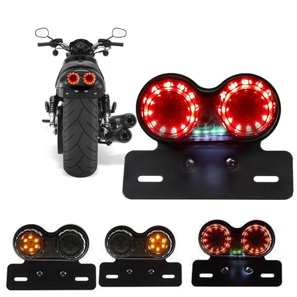 Motorcycle Rear SMOKED LED Brake Light License Plate Bracket Suzuki Custom Tail