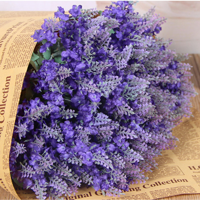 Provence Lavender Artificial 10 Heads Silk Flowers Bunch Wedding Party Decor